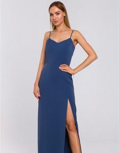 Niebieska sukienka MOE z dekoltem w kształcie litery v na ramiączkach z tkaniny