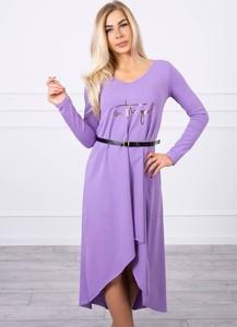 Fioletowa sukienka Kesi z długim rękawem midi z okrągłym dekoltem