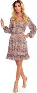 Brązowa sukienka NUMOCO z dekoltem w kształcie litery v