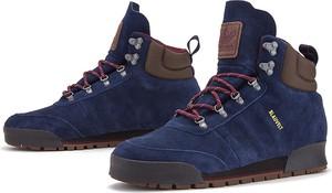 Niebieskie buty zimowe Adidas sznurowane ze skóry