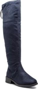 Granatowe kozaki Jenny Fairy za kolano z płaską podeszwą