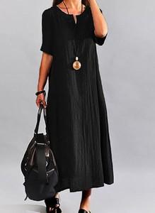 Czarna sukienka Cikelly w stylu casual maxi z okrągłym dekoltem