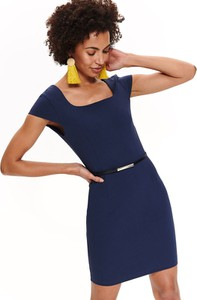 Niebieska sukienka Top Secret z dekoltem w karo dopasowana