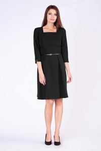 Czarna sukienka butik-choice.pl midi z długim rękawem