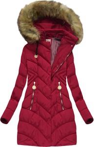 Bordowa kurtka mhm bez wzorów z poliestru