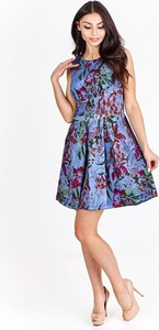 Niebieska sukienka Fokus rozkloszowana mini z okrągłym dekoltem