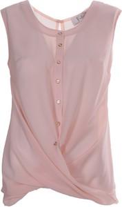 Różowa bluzka Fokus z szyfonu z okrągłym dekoltem bez rękawów