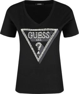 Czarny t-shirt Guess Jeans z krótkim rękawem