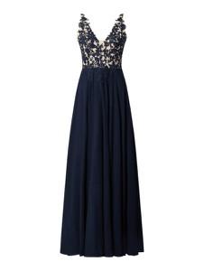 Granatowa sukienka Luxuar z dekoltem w kształcie litery v