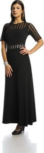 Czarna sukienka Fokus z tkaniny rozkloszowana
