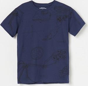 Granatowa koszulka dziecięca Reserved z krótkim rękawem z bawełny