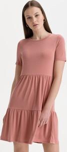 Sukienka Vero Moda mini z krótkim rękawem z okrągłym dekoltem