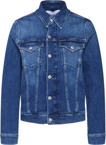 Niebieska kurtka Calvin Klein w stylu casual z jeansu krótka