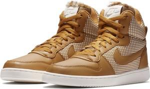 Brązowe buty sportowe Nike sznurowane z płaską podeszwą ze skóry