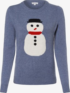 Niebieski sweter Marie Lund z dzianiny w bożonarodzeniowy wzór w stylu casual