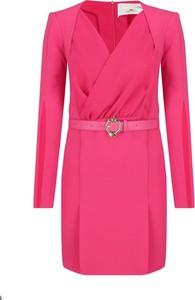 Sukienka Elisabetta Franchi z długim rękawem z dekoltem w kształcie litery v mini