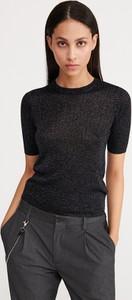 Czarna bluzka Reserved z krótkim rękawem w stylu casual z okrągłym dekoltem