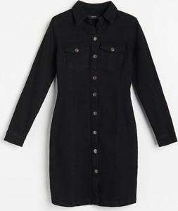 Czarna sukienka Reserved z jeansu w stylu casual mini
