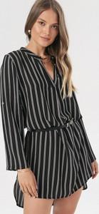 Czarna sukienka born2be asymetryczna z długim rękawem mini