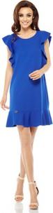 Niebieska sukienka Lemoniade z okrągłym dekoltem z krótkim rękawem