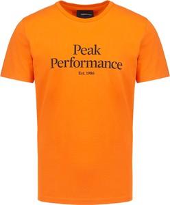 Pomarańczowy t-shirt Peak performance z krótkim rękawem w młodzieżowym stylu z bawełny