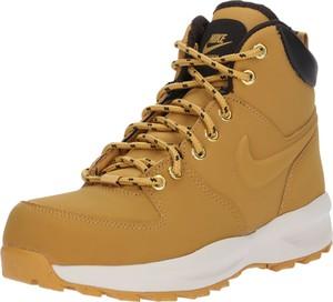 Żółte buty dziecięce zimowe Nike Sportswear ze skóry sznurowane