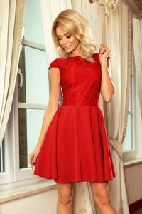Czerwona sukienka NUMOCO z krótkim rękawem rozkloszowana