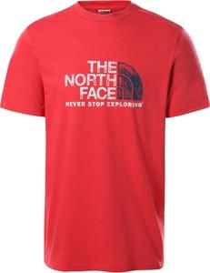 Czerwony t-shirt The North Face z krótkim rękawem w sportowym stylu z bawełny