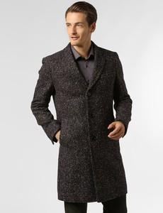 Brązowy płaszcz męski Boss z jedwabiu