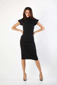 Czarna sukienka Nommo midi z krótkim rękawem