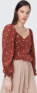 Brązowa bluzka Sinsay w stylu casual z dekoltem w kształcie litery v