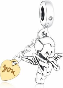 Valerio Rodowany srebrny wiszący charms pandora anioł miłości kupidyn srebro 925 BEADNEW8