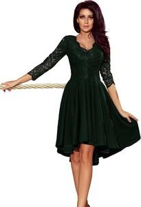 Zielona sukienka NUMOCO asymetryczna mini z długim rękawem