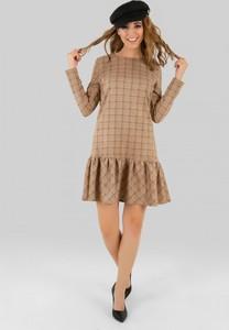 Sukienka producent niezdefiniowany z okrągłym dekoltem z długim rękawem mini
