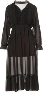 Czarna sukienka Multu z długim rękawem