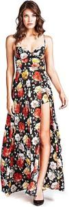 Sukienka Guess z dekoltem w kształcie litery v trapezowa maxi