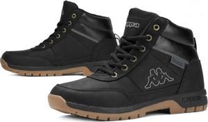 Czarne buty zimowe Kappa ze skóry w sportowym stylu sznurowane