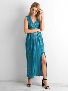 Niebieska sukienka Factory Price z dekoltem w kształcie litery v na ramiączkach