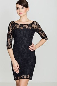 Czarna sukienka LENITIF z okrągłym dekoltem z długim rękawem dopasowana
