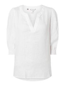 Bluzka Tommy Hilfiger z lnu z długim rękawem z dekoltem w kształcie litery v