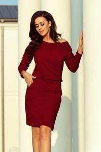 Czerwona sukienka NUMOCO z dresówki w stylu casual mini
