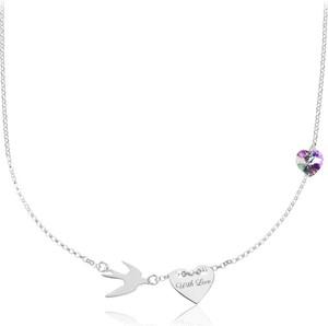 Lian Art Srebrny naszyjnik Hailey - jaskółka i serce z kryształkiem Swarovski®