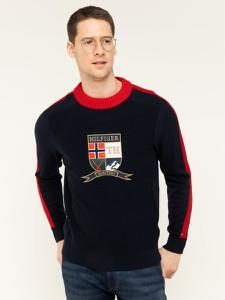 Granatowy sweter Tommy Hilfiger z nadrukiem
