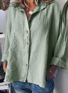 Zielona bluzka Cikelly z długim rękawem w stylu casual