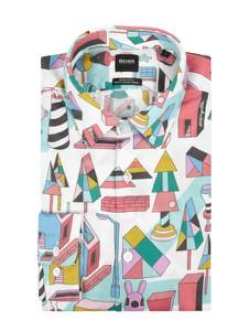 Koszula Boss z bawełny z klasycznym kołnierzykiem z długim rękawem
