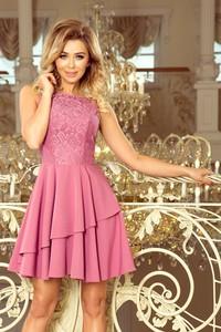 Różowa sukienka NUMOCO z okrągłym dekoltem rozkloszowana bez rękawów