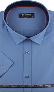 Niebieska koszula Massaro z klasycznym kołnierzykiem z krótkim rękawem