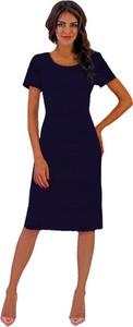 Sukienka Marselini ołówkowa z okrągłym dekoltem midi