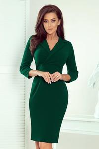 Zielona sukienka NUMOCO z długim rękawem kopertowa