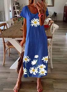 Niebieska sukienka Cikelly z krótkim rękawem maxi